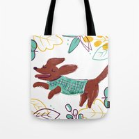 Happy Fall, Dogs! (Ginger) Tote Bag