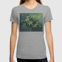 Japanese Maple Watercolor, Green Leaves, Tree Branch Womens Fitted Tee Athletic Grey SMALL