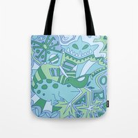 Abstract Animals - Blue and Green  Tote Bag
