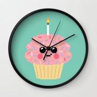 Happy Pixel Cupcake Wall Clock