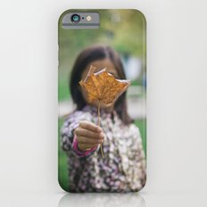 Girl holding leaf iPhone 6 Slim Case