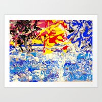 Abstract painting  - Sunset over The Sea Art Print