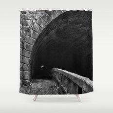 Paw Paw Grunge Tunnel - Black & White Shower Curtain