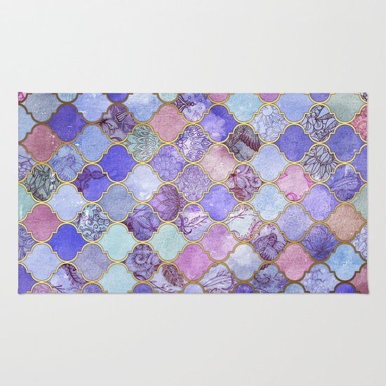 Purple Canvas Rug: Royal Purple, Mauve & Indigo Decorative Moroccan Tile