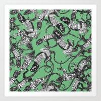 Just Lizards Green Art Print