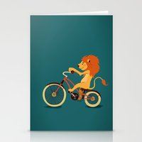 Lion on the bike Stationery Cards
