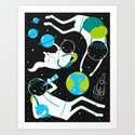 A Day Out In Space - Black Art Print