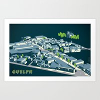 Aerial view of Guelph Art Print