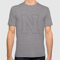Letter N Mens Fitted Tee Athletic Grey SMALL