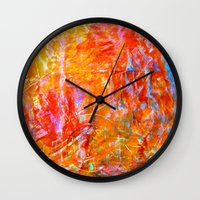Abstract with Circle in Gold, Red, and Blue Wall Clock