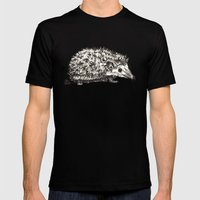 Pink Woodland Creatures - Hedgehog Mens Fitted Tee Black SMALL