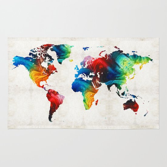 World Map Throw Rug: Colorful Art By Sharon Cumming Rug By
