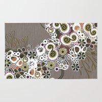 Diagonal flower – brown and olive green fiber Rug