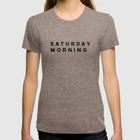 Saturday Morning Womens Fitted Tee Tri-Coffee SMALL