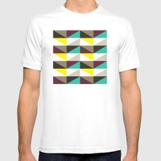 Yellow, purple, turquoise triangle pattern Mens Fitted Tee SMALL White