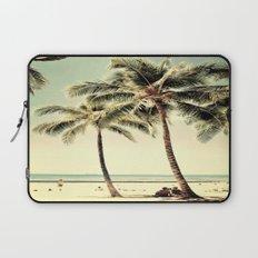 Retro Vintage Palm Tree with Hawaii Summer Sea Beach Laptop Sleeve