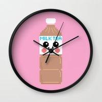 Happy Pixel Milk  Tea Wall Clock