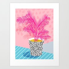 No Can Do - hipster abstract neon 1980s style memphis print palm springs socal los angeles desert Art Print