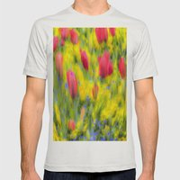 English Summer Flowers Pastel Art Mens Fitted Tee Silver SMALL