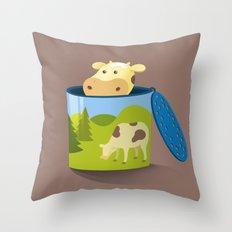 The moo box Throw Pillow