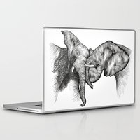 elephants Laptop & iPad Skins featuring elephants by Lyudmila Kuguk
