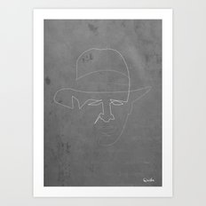 One line Indiana jones Art Print