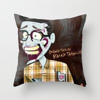 Hipster Zombie Throw Pillow