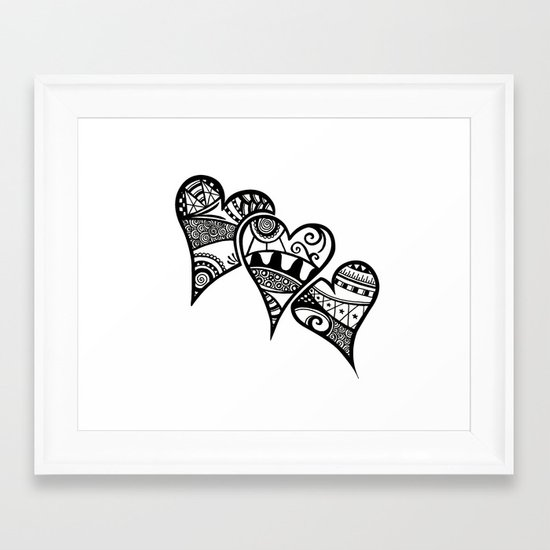 Three Hearts Framed Art Print
