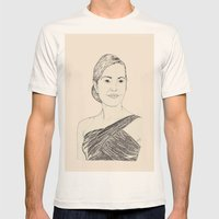 Kate Winslet Portrait Mens Fitted Tee Natural SMALL
