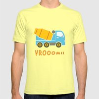 Cement Mixer Truck Mens Fitted Tee Lemon SMALL