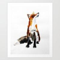Woodland Fox (reverse edit) Art Print