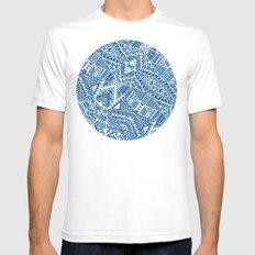 Tribal (blue)  Mens Fitted Tee SMALL White