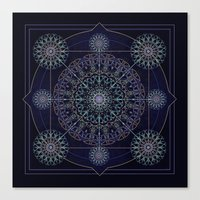 Neon Geometry In Blue Canvas Print