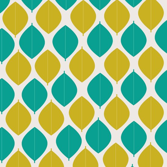 TEAL AND GREEN LEAVES Art Print