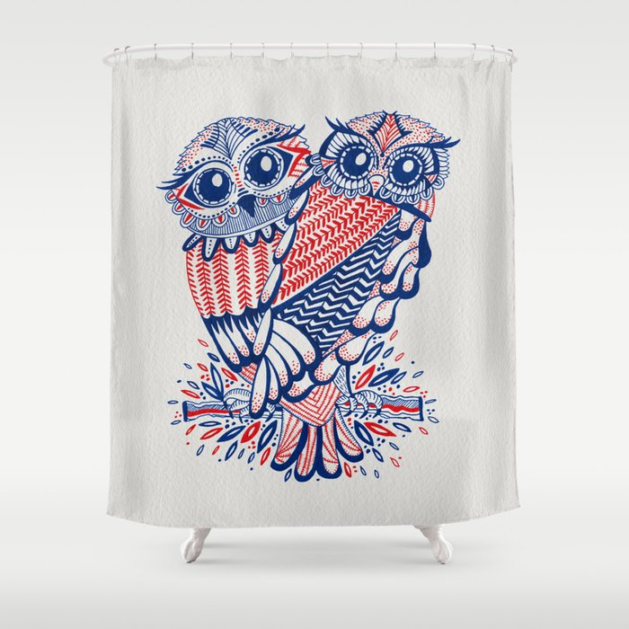 Owls Red Navy Shower Curtain By Cat Coquillette Society6