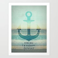 anchor Art Prints featuring ANCHOR by Monika Strigel
