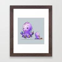 Creative Furry Octopus Framed Art Print