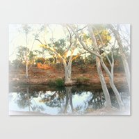 Ghost Gums By The Billab… Canvas Print