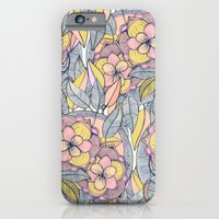 iPhone Cases featuring Pink and Peach Linework Floral Pattern by micklyn