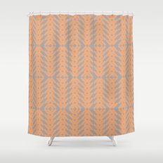 Peach and Gray Tribal Pattern Shower Curtain
