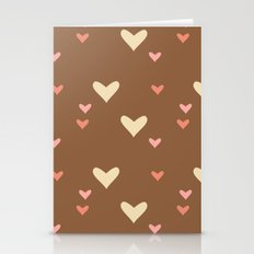 Brown hearts Stationery Cards