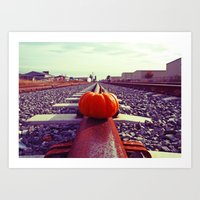 Art Print featuring Tacoma rail pumpkin by Vorona Photography