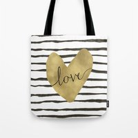 Love gold foil heart Tote Bag