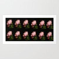A Dozen Pink Rose Buds Art Print