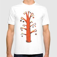 Red Tree, Yellow Birds Mens Fitted Tee White SMALL