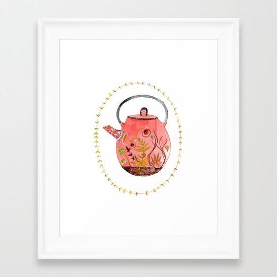 teapot terrarium Framed Art Print