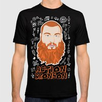 Action Bronson Portrait Mens Fitted Tee Black SMALL