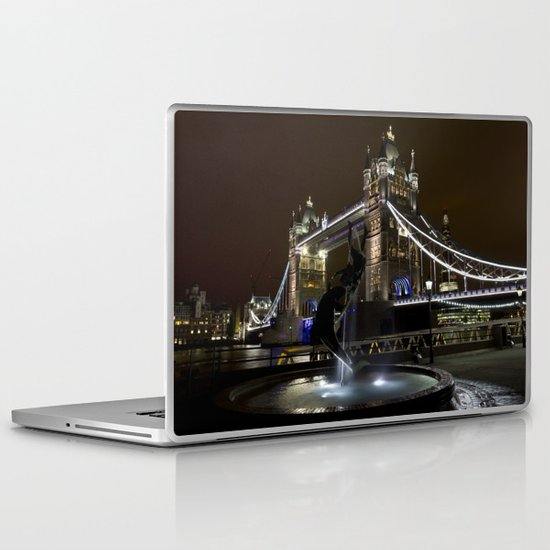 Girl and dolphin and Tower Bridge Laptop & iPad Skin