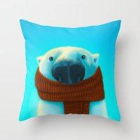 Polar Bear With Scarf Throw Pillow