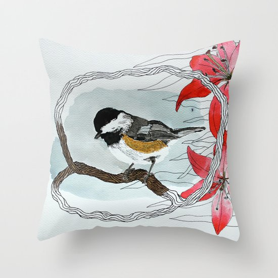 Black capped chickadee and fantasy flowers and lines Throw Pillow